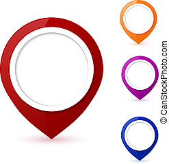 Set of round 3D map pointers on a white background. Vector illus
