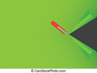 Illustration of Penknife Cutting Green Background - Vector...