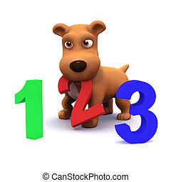3d Puppy dog learns to count - 3d render of a puppy dog with...