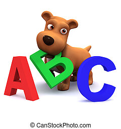 3d Puppy dog learns the alphabet - 3d render of a puppy dog...