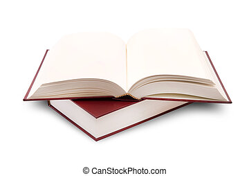 open books on white background