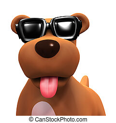 3d Puppy dog in cool shades - 3d render of a puppy dog...