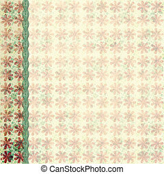 Retro grunge flower background with braid border