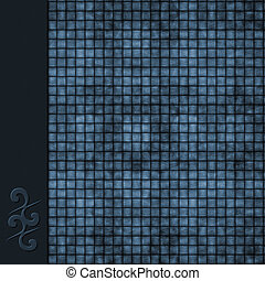 Dark blue weave background with symbol border - Woven...