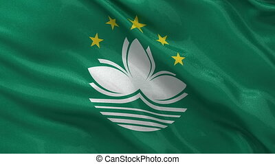 Flag of Macau seamless loop - Flag of Macau gently waving in...