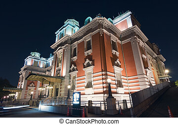 Osaka city central public hall in the night, Japan, Asia.