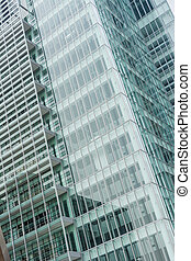 Office glass windows with beautiful reflection in Osaka,...