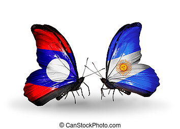Two butterflies with flags on wings as symbol of relations Laos and Argentina