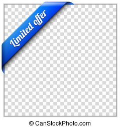 Corner ribbon - Blue corner ribbon template with white paper...