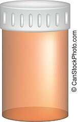 Empty pill bottle in orange design on white background