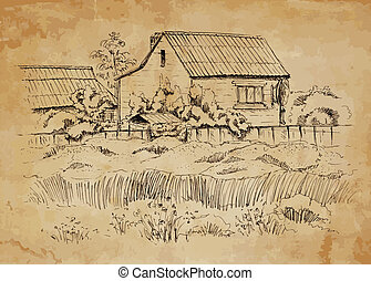Rural landscape with old farmhouse Hand drawing illustration...