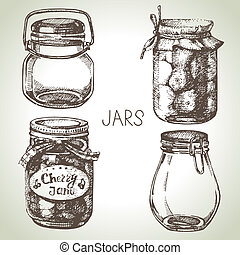 Rustic, mason and canning jars hand drawn set Sketch design...