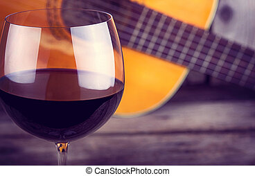 de madera, guitarra, vino, tabla