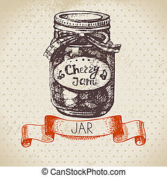 Rustic canning jar with cherry jam. Vintage hand drawn...