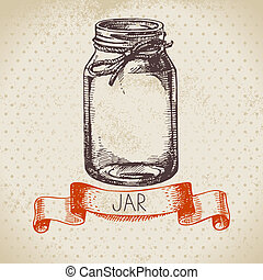 Rustic, mason and canning jar Vintage hand drawn sketch...