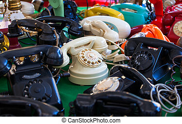 Vintage telephones - View of vintage telephones in the...