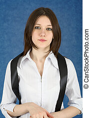 Young woman with a black ribbon