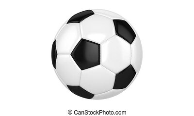 Soccer Ball - Soccer ball spins around its axis. Seamless...