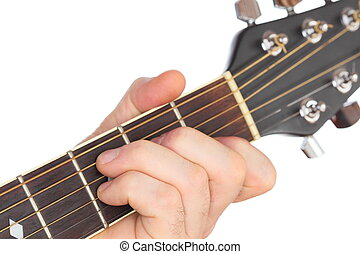 fretboard - hand is playing with a western guitar