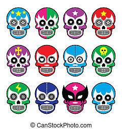 Lucha Libre sugar skull masks icons - Vector icons set of...