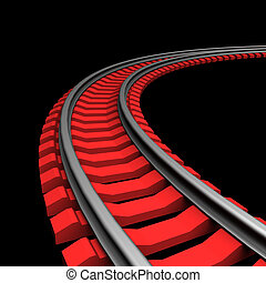 Single curved railroad track on dark background