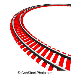 Single curved railroad track isolated on white background