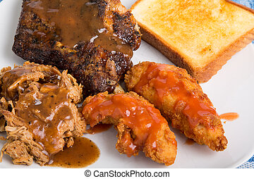 Barbecue Ribs Pork and Chicken