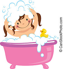 Baby kid girl bathing in bath tub and washing hair - A baby...