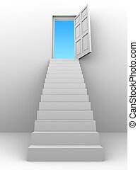 3d Stairway to blue sky open door - 3d render of a staircase...