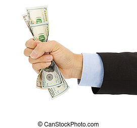 businessmans hand grasping a handful of dollars