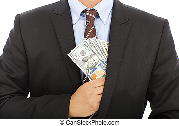 businessman hide money in the pocket with white background