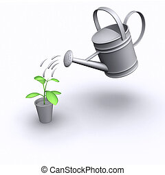 3d Watering a seedling - 3d render of a watering can pouring...