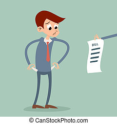 Out of money businessman cartoon character looking bill Icon...