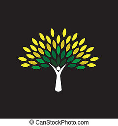 people tree icon with green leaves - eco concept vector....