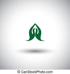 indian womans hand greeting posture of namaste - vector icon...