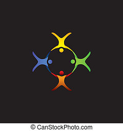 group of people floating, gliding in air - vector graphic