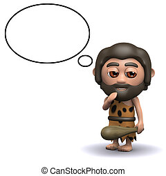 3d Caveman with thought balloon - 3d render of a caveman...