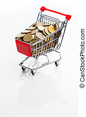 shopping cart full of money on white background