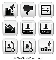 Failure, rejected man buttons set - Vector buttons set of...