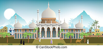 Palace in the arabian city - Vector illustration of the...