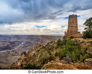 Hopi watch tower at Grand Canyon, south rim, Arizona USA