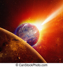 Earth and Mars - Abstract scientific background - glowing...