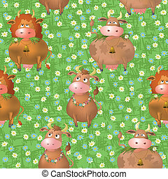 Seamless pattern, cartoon cows on a meadow - Seamless...