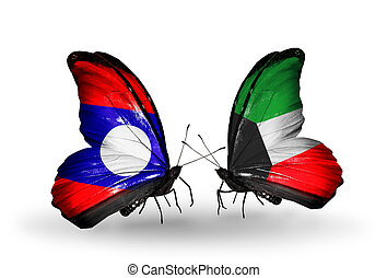 Two butterflies with flags on wings as symbol of relations Laos and Kuwait