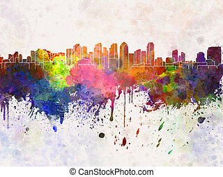 San Diego skyline in watercolor background