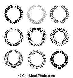 Laurel Wreaths - Set Laurel Wreaths Vector Collection on...