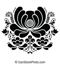 Norwegian folk art black and white - Vector background of...