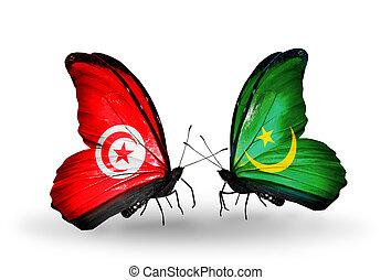 2, 蝶, 旗, 翼, シンボル, 関係, チュニジア,...