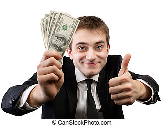 businessman in suit showing fan of money