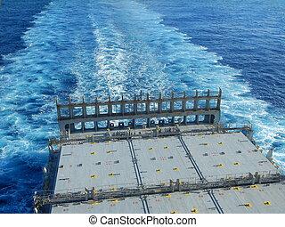Empty deck, Vessel is underway.